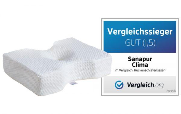 Vergleichssieger Rückenschläferkissen Sanapur Original Kissen CLIMA